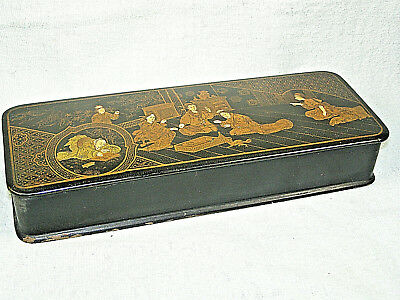 Antique Japanese Black Lacquer Glove Box w/ Hand Painted Gold Figures Scene