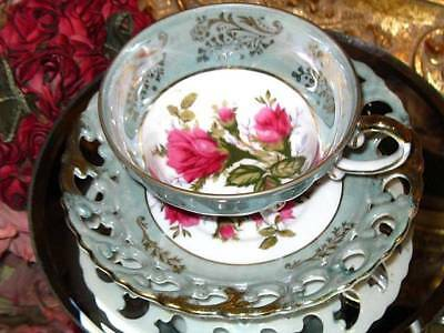 Royal Sealy Japan Lusterware Porcelain 3 Footed Tea Cup & Saucer Open Edges Sage