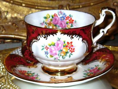 Paragon Cup & Saucer Rose Floral Spray Orange/Rust Gold Footed Teacup