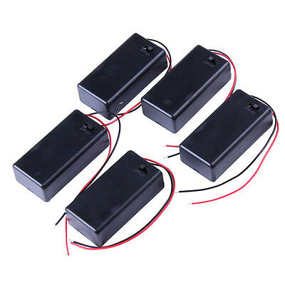 5PCS DC 9V Battery Holder Box Case With Wire Lead Cover Top Quality Easy Supply