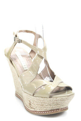 f9065a986a74 Pura Lopez Womens Espadrille Wedges Nude Patent Leather Size 38.5