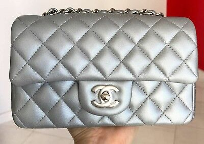 8ec331214828a 2017B Chanel Classic Mini Bag Quilted Silver Lambskin Leather Silver Hw Cc  Lock