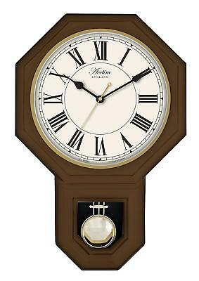 Acctim Woodstock Pendulum Wall Clock Dark Wood 28316 Roman Numerals
