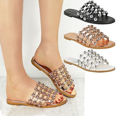 Womens Ladies Studded Slider Flat Summer Sandals Cage Slides Bling Diamante Size