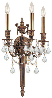 Crystorama 753-MB-CL-MWP Cast Brass  Hand Cut Crystal Wall Sconce, Matte Brass