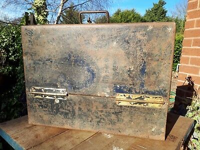 Nice old metal toolbox box case with strong handle and brass welded hinges