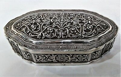 Antique Sri Lankan Silver Snuff Box, Concave Square, Repousse Late 19Th C.