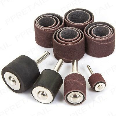 """20Pc DRUM SANDING 4 Sizes FITS ALL 1/4"""" DRILLS 80/120 Grit Paper Abrasive Sleeve"""