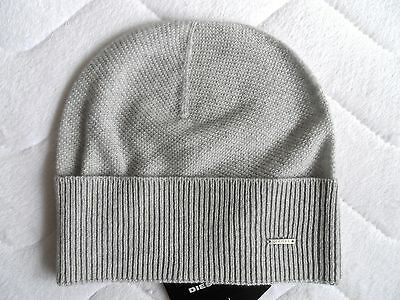 d4964cebf3fa66 DIESEL Cashmere & Wool Lux Light Grey Beanie Hat Toque Womens Femme Tags  ITALY