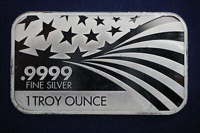 1 oz .9999 Fine Silver Bar - APMEX / RMC (Co-Branded) - Flag Stars & Stripes