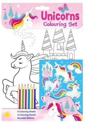 Emoji Unicorn Colouring Set Kids Activity Pack With Pencils & Stickers