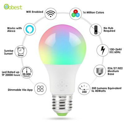 New E27 Smart Wifi Bulb RGB Rgbw Dimmable Led Lamp Bulbs, Wake-Up
