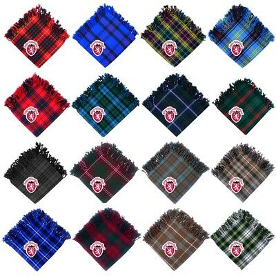 Men's Scottish Kilt FlyPlaid 48''x 48'Acrylic Wool Purled Fringe Various Tartan