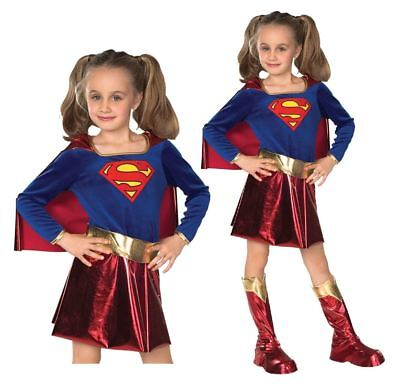 Girls Supergirl Costume Deluxe Fancy Dress Outfit Superhero Book Day Week