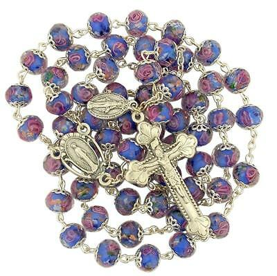 Blue Cloissone Glass Bead Rosary with Floral Miraculous Medal Centerpiece, 21