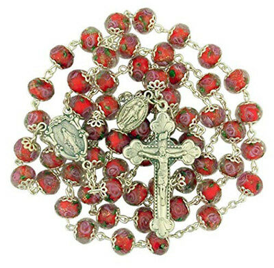 Red Cloissone Glass Bead Rosary with Floral Miraculous Medal Centerpiece