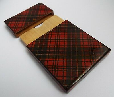 BEAUTIFUL RARE ANTIQUE VICTORIAN c1880 TARTAN WARE CALLING CARD CASE HAY & LEITH