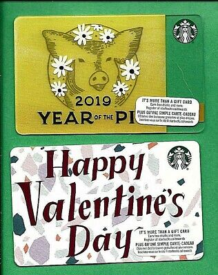 2019 Starbucks Canada Year of the Pig & Valentines Cards