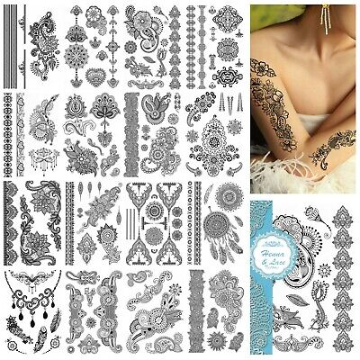 1 Sheet Of Black Henna & Lace Temporary Tattoos Body Art Tattoo Skin Transfers