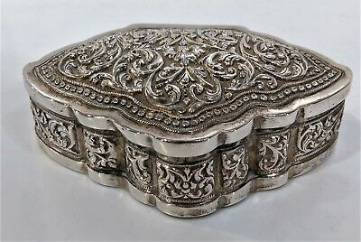 Antique Sri Lankan Silver Snuff Box, Shell Shape, Repousse Late 19Th C.