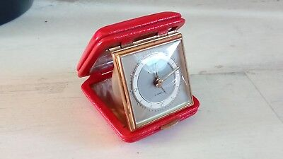 Vintage Europa 2 Jewels Travel Alarm Clock in Red Case