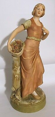 "Antique Royal Dux Bohemia 16.5"" Porcelain Woman With Roses"