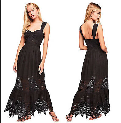 7cde9c0c9b24d FREE PEOPLE CAUGHT Your Eye Black Gauze Lace Tier Inset Maxi Dress 0 ...