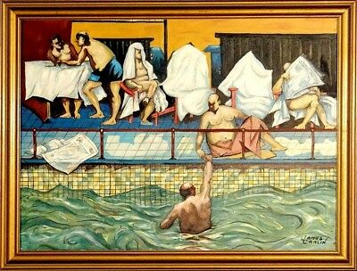 "Rare ca.1999 Famous Artist ""Turkish Bath"" Painting Oil/Canvas w/Frame Signed"