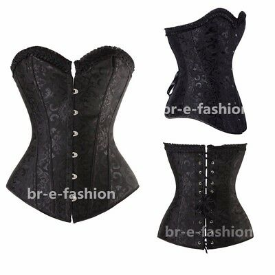 Sexy Black Lace Up Overbust Soft Steel Boned Corset Basque Size S-XXL 6-16 BRE