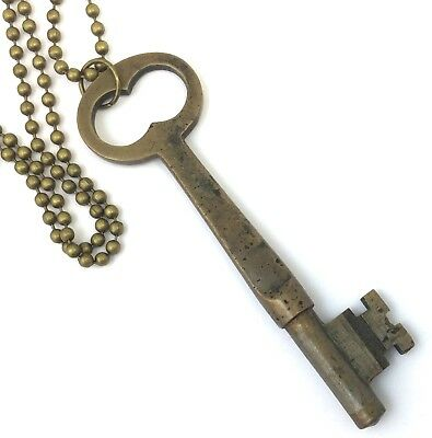 Antique Skeleton Key Necklace Brassy Bronze Tone Metal Necklace Ball Chain
