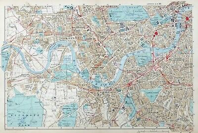 SOUTH WEST LONDON, 1910 - Original Antique Map / City Plan, Bacon.