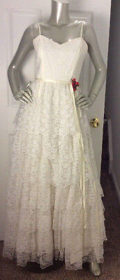 Vintage 1970s Tiered Ruffle Chantilly Lace Wedding Party Long Dress SizeS/ M