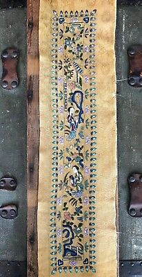 Antique Asian Silk Embroidered Panel With Forbidden Stitch