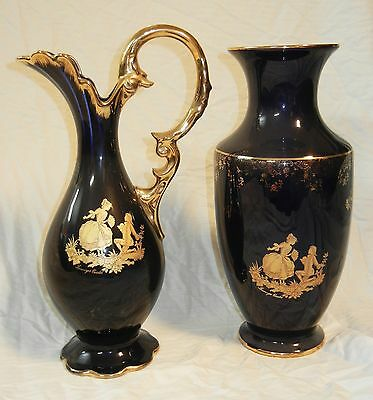 AMAZING pair of LIMOGES PORCELAIN Bowl Water Jug/Pitcher Vase Set French Antique
