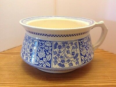 Antique Transferware Blue Chamber pot, Lucknow TG&FB, Rd 15360 (1890), Excellent