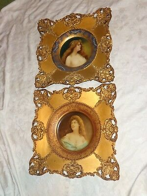 Antique Victorian Lady Portrait Vienna Art Tin Plate Ornate Gold Gilt Frame Set