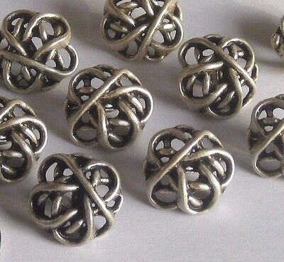 """Fancy extruded Floral Knot set 9 new vintage antiqued SILVER metal buttons 7/8"""""""