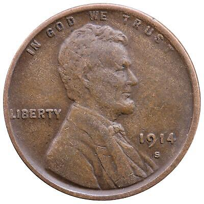 1914 S Lincoln Wheat Cent Very Fine Penny VF
