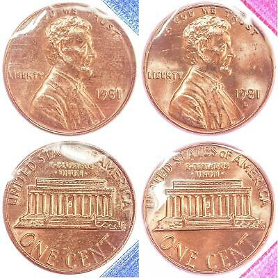 1981 P D Lincoln Memorial Cent BU US Mint Cello 2 Coin Penny Set
