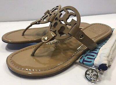 044933d12 TORY BURCH FLAT sandals shoes flats navy gold thong T-strap US 7.5 ...