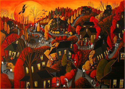 Halloween witch neighborhood night black cat Giclee ACEO print folk art Criswell