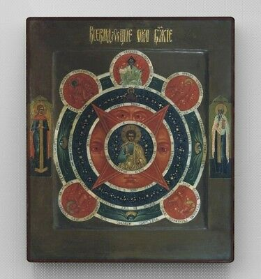 Copy of an antique Orthodox icon. Eye of Providence. Pseudo-antiques.