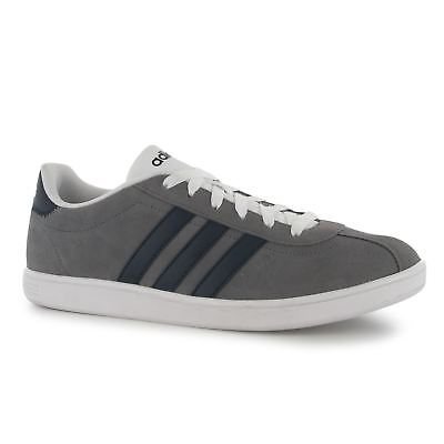 sale retailer cf88b 49d18 Adidas VL Neo Court Suede Trainers Mens Grey Navy White Casual Sneakers  Shoes