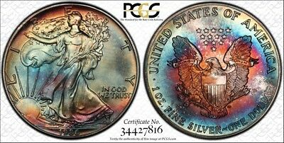 MS65 1986 $1 Silver Eagle PCGS Secure- Rainbow Toned, Undergraded