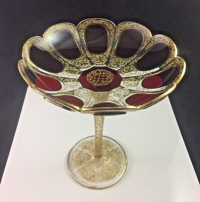 Lower Price with Antique Moser Ruby Red Bubble Stem Wine Glass With Gilded Engraving Art Glass