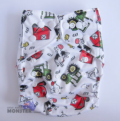 Modern Cloth Reusable Washable Baby Nappy & Insert! Farm Tractors & Lazy Cows