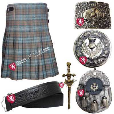 Men's Scottish Kilt Out Fit Set Weathered Black Watch Tartan Pin,Brooch & Buckle