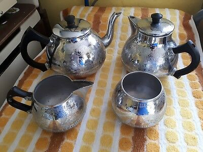 Silver Tea Set SWAN : 'THE CARLTON' CHROMALIM 4 pieces