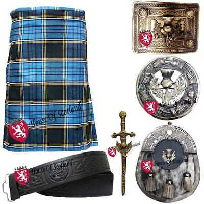 Men's Scottish Highland Kilt Out Fit Set Various Tartans Pin Brooch Belt  Buckle