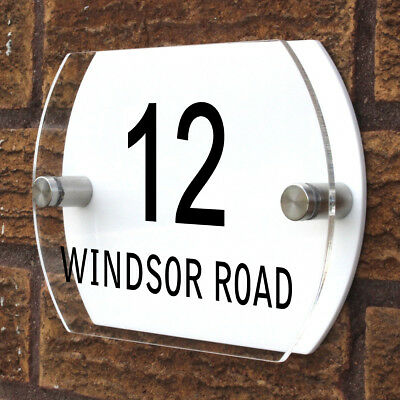 Personalised Custom Curve Shaped Number / Name Road Plaques Acrylic Door Sign